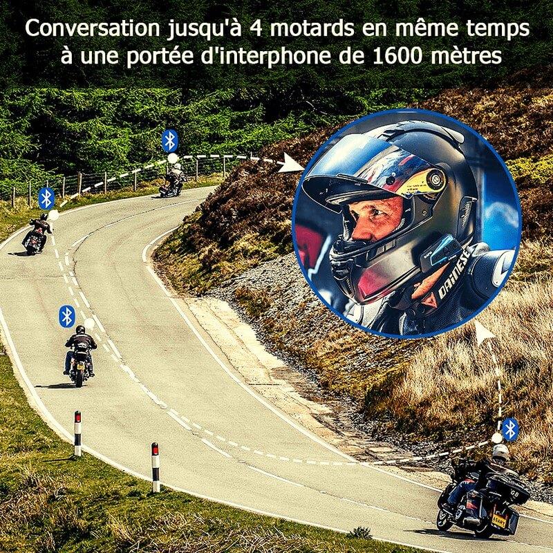 Groupe de motards sur la route équipés d'un intercom moto Lexin LXB4FM